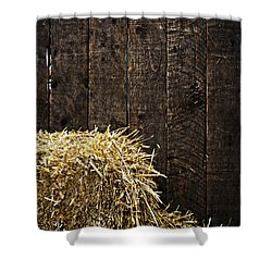 Bale Of Straw And Wooden Background Shower Curtain