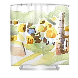 Baling Hay In The Abstract Shower Curtain by Kip DeVore