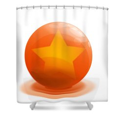 Shower Curtain featuring the sculpture orange Ball decorated with star white background by R Muirhead Art