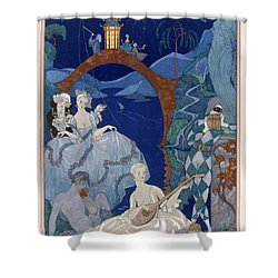 Ball Under The Blue Moon Shower Curtain by Georges Barbier