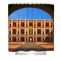 Shower Curtain featuring the photograph Ballaja Barracks by Mitch Cat
