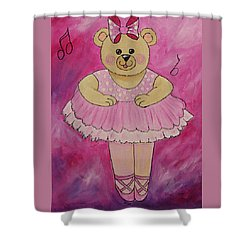 Ballerina Bear In Pink Shower Curtain