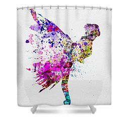 Ballerina On Stage Watercolor 3 Shower Curtain by Naxart Studio
