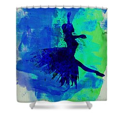 Ballerina On Stage Watercolor 5 Shower Curtain by Naxart Studio