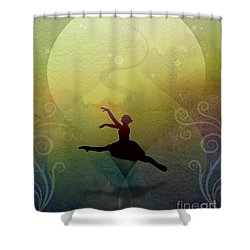 Ballet In Solitude - Color Verde Shower Curtain by Peter Awax