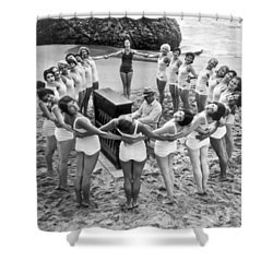Ballet Rehearsal On The Beach Shower Curtain by Underwood Archives