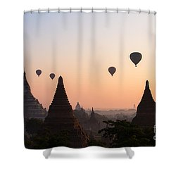Ballons Over The Temples Of Bagan At Sunrise - Myanmar Shower Curtain