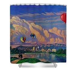 Shower Curtain featuring the painting Ballooning On The Rio Grande by Art James West