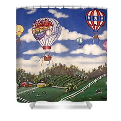 Ballooning Over The Country Shower Curtain by Linda Mears