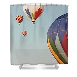 Balloons High In The Sky Shower Curtain by Belinda Lee
