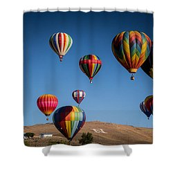 Shower Curtain featuring the photograph Balloons Over Northern Nevada by Janis Knight