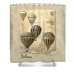 Balloons With Sepia Shower Curtain