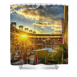 Ballpark Sunset At Target Field Shower Curtain by Mark Goodman