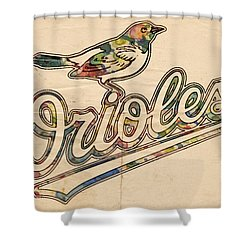 Baltimore Orioles Stylish Logo Shower Curtain