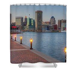Baltimore Skyline At Twilight I Shower Curtain