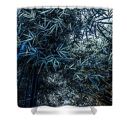 Bamboo - Blue Shower Curtain by Hannes Cmarits