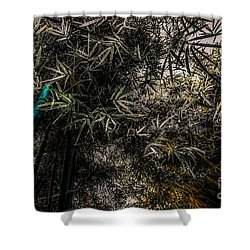 bamboo III - blue - yellow Shower Curtain by Hannes Cmarits