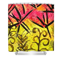 Shower Curtain featuring the painting Bamboo In The Wind by Joan Reese