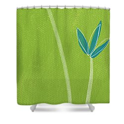 Bamboo Namaste Shower Curtain by Linda Woods