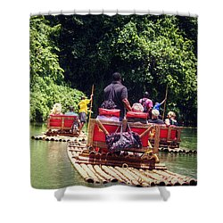 Bamboo River Rafting Shower Curtain