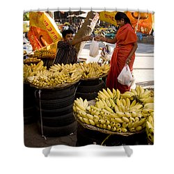 Shower Curtain featuring the photograph Banana Seller by Mini Arora