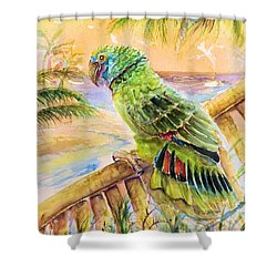 Shower Curtain featuring the painting Banana Tree And Tropical Bird by Bernadette Krupa