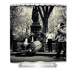 Band On Union Square New York City Shower Curtain by Sabine Jacobs