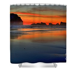 Bandon Foggy Fire Shower Curtain by Adam Jewell