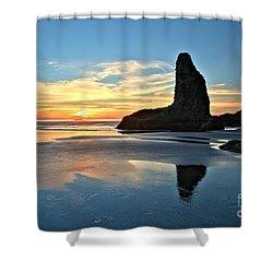 Bandon Oregon Sunset Shower Curtain by Adam Jewell