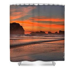 Bandon Sunset And Surf Shower Curtain by Adam Jewell