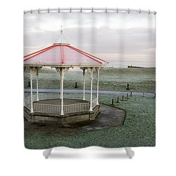 Bandstand In Winter Shower Curtain by Jeremy Voisey