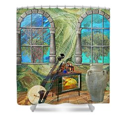 Shower Curtain featuring the mixed media Banjo Room by Ally  White