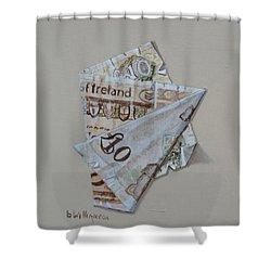 Bank Of Ireland Ten Pound Banknote Shower Curtain by Barry Williamson