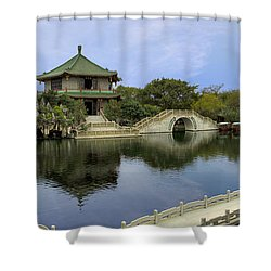 Baomo Garden Temple Shower Curtain by Nicola Nobile