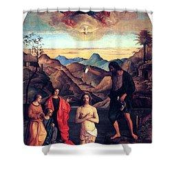 Baptism Of Christ With Saint John 1502 Giovanni Bellini Shower Curtain by Karon Melillo DeVega