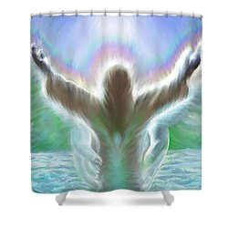 Baptism Of Yshuah Shower Curtain by Hidden  Mountain