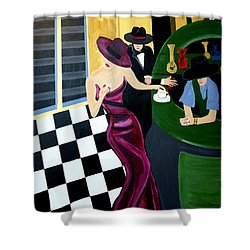 Bar Scene  Lets Have A Drink Shower Curtain