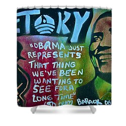 Barack And Fifty Cent Shower Curtain by Tony B Conscious