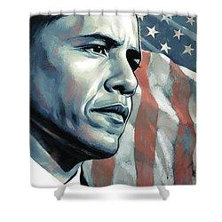 Barack Obama Artwork 2 B Shower Curtain by Sheraz A