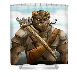 Shower Curtain featuring the painting Baragh The Hoargg Warrior by Reynold Jay