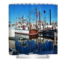Barb Gail Harbor Corner Shower Curtain by Michael Thomas