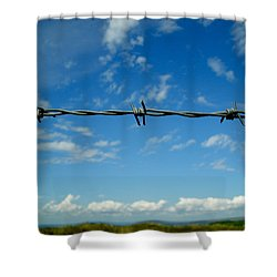 Shower Curtain featuring the photograph Barbed Sky by Nina Ficur Feenan