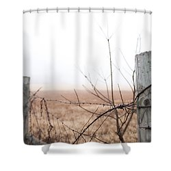 Barbed Wire Fence In The Fog Shower Curtain