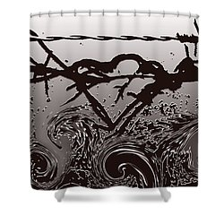 Barbedwire Love - Heartbreak Shower Curtain by Lesa Fine
