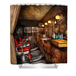 Barber - Closed On Sundays Shower Curtain by Mike Savad