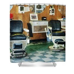 Barber - Corner Barber Shop Two Chairs Shower Curtain by Susan Savad