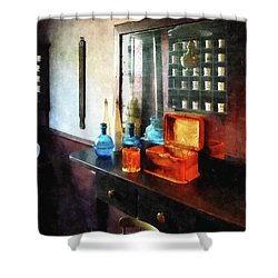 Barber - Hair Tonic And Shaving Mugs Shower Curtain by Susan Savad