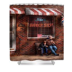 Barber - Metuchen Nj - Waiting For Mike Shower Curtain by Mike Savad