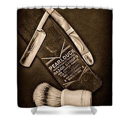 Barber - Tools For A Close Shave - Black And White Shower Curtain