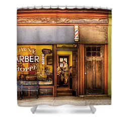 Barber - Towne Barber Shop Shower Curtain by Mike Savad
